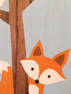 Cet ensemble de trois animaux de la forêt sur bois de peintes à la main fera laddition parfaite à votre little ones pépinière boisées ou pépinière amis ! Cet ensemble peut être personnalisé mais vous souhaitez. Sil vous plaît nhésitez pas à me contacter pour toutes questions ou demandes.  Woodland pépinière Art - lot de 3 Chaque peinture mesure 8 « x 12 », 1/2 dépaisseur sur le chêne teinté. Les arbres sont laissés non peinte, mettant en vedette le grain naturel et la texture du bois…