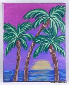 Original Painting Palm Tree Painting Vaction by HeartsAndKeys, $35.00