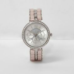 River Island Silver tone rhinestone watch (270 RON) ❤ liked on Polyvore featuring jewelry, watches, silver, women, river island watches, silvertone jewelry, druzy jewelry, drusy jewelry and silvertone watches