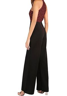 d5be3b99872 Fashion Sequined Patchwork Zipped Jumpsuits Halter Neck Off Shoulder  Sleeveless Top and Black Wide Leg Long Pants Rompers        AMAZON BEST BUY       ...