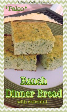 Savory Ranch Dinner Bread with Zucchini. (Paleo, gluten free, low-carb) By… Primal Recipes, Gluten Free Recipes, Low Carb Recipes, Whole Food Recipes, Cooking Recipes, Healthy Recipes, Paleo Baking, Gluten Free Baking, Croissants
