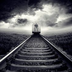 """Black and white urban photography - """"Tracks"""" by Luis Beltran available at Great BIG Canvas."""