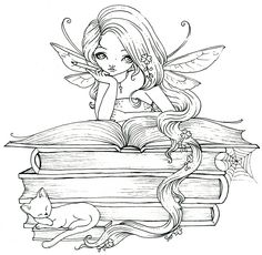 Perhaps she's reading Fairy Tales Fairy book lover. Fairy Coloring Pages, Adult Coloring Book Pages, Free Coloring Pages, Printable Coloring Pages, Coloring Books, Kids Coloring, Coloring Sheets, Fairy Drawings, Whimsy Stamps