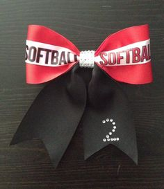 Softball Bows by KarinasKreations01 on Etsy, $10.00