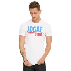 Hot Topic IDGAF 2016 T-Shirt ($9.99) ❤ liked on Polyvore featuring tops, t-shirts, graphic print tees, graphic tees, graphic design t shirts, white graphic t shirt and graphic design tees