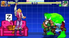 The Hulk And Gilius Thunderhead VS He-Man And Garfield The Cat In A MUGEN Match / Battle / Fight This video showcases Gameplay of Garfield The Cat From The Garfield And Friends Series And He-Man and the Masters of the Universe Series VS Gilius Thunderhead The Dwarf From The Golden Axe Series And The Hulk In A MUGEN Match / Battle / Fight
