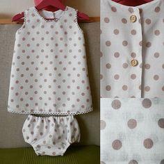 Vestido lino topos rosa. #SCBarcelona #barcelona #hechoamano #fetama #ropabebe #kidsfashion #couture #kids #linen #lino #vestidolino