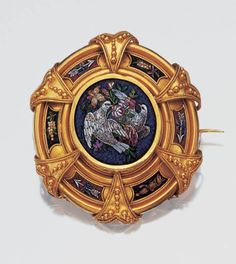 Antique Gold and Micromosaic Brooch - 19th century