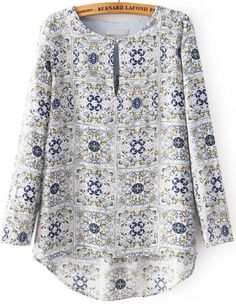 White Round Neck Long Sleeve High-Low Floral Print Blouse Related posts: Solid Elegant Round Neckline Short Sleeve Blouses New Autumn 2018 Womens Tops and Blouses long sleeve chiffon blouse Mujer Moda … Floral Skater Short Sleeve Knee-Length A-line Dress Kurta Designs, Blouse Designs, African Fashion Dresses, Fashion Outfits, Blouse Online, Blouse Patterns, Printed Blouse, Floral Blouse, Blouse Styles