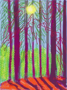 "David Hockney: ""Untitled No. from ""The Yosemite Suite"", Exhibit 'David Hockney : The Yosemite Suite Annely Juda Fine Art, London. David Hockney Ipad, David Hockney Art, David Hockney Paintings, David Hockney Landscapes, Tree Sketches, Abstract Sketches, Modern Pop Art, Contemporary Art, Pop Art Movement"