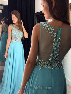 Open Back Prom Dresses, Chiffon Prom Dress, Blue Evening Gowns, Aline Party Dresses, Beaded Formal Dresses