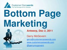 Gerry McGovern: Bottom Page Marketing. Use carewords on your website!