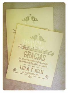 Tarjetas de agradecimiento de los novios a sus invitados. Realizadas por Happy #Wedding