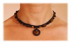 Tiger's Eye Pendant Macrame Choker / Collar / adjustable necklace by Malatichan on Etsy