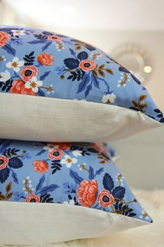 Perfect floral pillow for a girl bedroom or a nursery.  16x20 pillow cover with Birch Floral, light weight cotton on the frontside Collection : Les Fleurs by Rifle Paper Co  Backside in Ivory linen/rayon. Invisible zipper. Insert is not included.