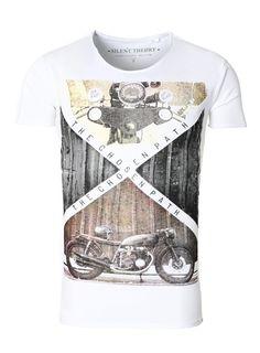 T-Shirt Herren Shirt Vintage Print Rundhals weiß