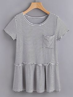 7d3fd940a944 SheIn offers Striped Pocket Front Ruffle Hem Tee   more to fit your  fashionable needs. Grace Gondela · Topsy