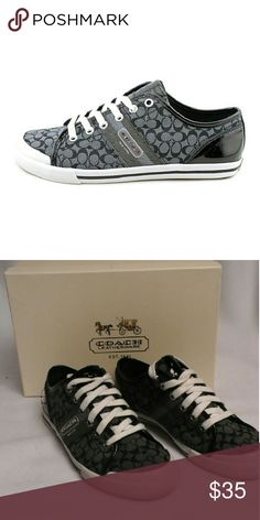 Coach Frances Womens Canvas Sneakers Beautiful black and gray coach sneakers. The man-made outsole lends lasting traction and wear. Coach footwear bears a brand recognized and coveted worldwide in the form of a handsome capital letter c, adorning sophisticated men's loafers and playful women's footwear. Gently worn. Coach Shoes Sneakers