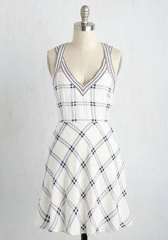 Breezeway Beauty Dress. How could you feel anything but content when the morning begins with warm sunshine, a light breeze, and this white-and-navy plaid sundress? #white #modcloth