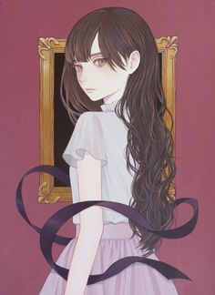 Mayumi Konno : illustration of Anime girl looking back, in shades of purple Anime W, Anime Art Girl, Manga Art, Anime Girls, Art And Illustration, Fanart, Anime Lindo, Beautiful Anime Girl, Anime Style