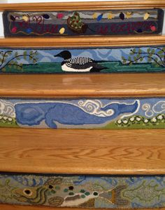 Rug hooking: ! Hooked rug stair riser #6: Nantucket cat boat with Christmas tree, 'God Bless Us Everyone'