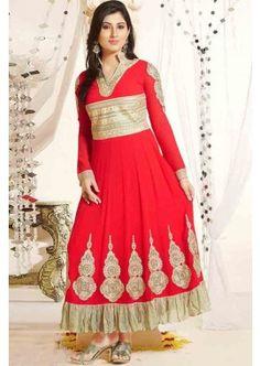 Red color Georgette Anarkali Suit, -£91.00,  #Anarkalisuitsuk  #Designersalwarkameezuk  #Anarkalionlineuk  #Anarkalisuitsukonline  #Shopkund