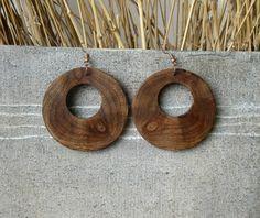 SALE Wooden earrings/Brown earrings/ Handmade by Stelakastela