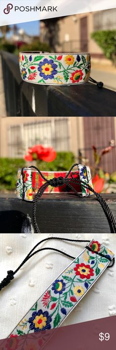 """๑Springtime Floral Jacquard Trim Bracelet๑ 10% DISCOUNT USING """"ADD TO BUNDLE"""" BUTTON ⇨ Get a FREE Bracelet!  •Handmade by me!   •3/4 in wide red, red, blue, green, yellow & on white floral pattern jacquard trim (100% polyester) Finished with a nylon thread closure knot for a secure fit.  •ⓢⓘⓩⓔ: Adjustable knot (fits any size)…"""