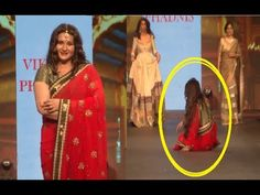 Oops ! Poonam Dhillon FALLS DOWN while walking on the ramp.