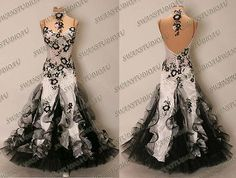 NEW WHITE AND BLACK SATIN BALLROOM COMPETITION DRESS WB2875