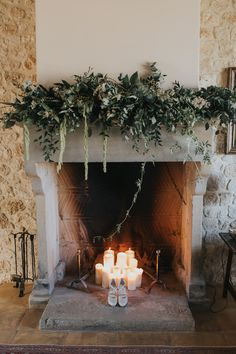Fireplace with Greenery Garland Floral Decor - Matteo Crescentini Photography | Elegant Outdoor Greenery & White Italian Wedding | Luisa Beccaria Wedding Dress | Vines & Berry Decor | Emotions Films