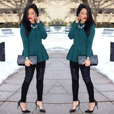 Long Sleeve Peplum Top Worn twice. Zipper in back. Stretchy material. Super comfortable top. Torn by Ronny Kobo Tops