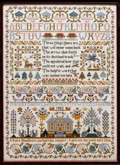 Moira Blackburn Samplers Three Things Sampler - Cross Stitch Pattern - 123Stitch.com