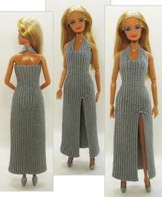 Best 12 Barbie Basic Blue Crochet Dress – made the same as the green dress only with an opening in the front – SkillOfKing. Sewing Barbie Clothes, Knitting Dolls Clothes, Barbie Clothes Patterns, Doll Dress Patterns, Crochet Doll Clothes, Sewing Dolls, Coat Patterns, Crochet Barbie Patterns, Crochet Doll Dress