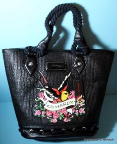 26e182e8c6b5 Ed Hardy Victoria Rose Bird Tattoo Graphics Black Straw Extra Large Tote Bag  Extra Large Tote