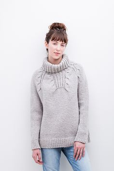 A plush brioche cowl finishes the distinctive eight-point cabled yoke of this snuggly pullover. Gentle A-line shaping makes Riptide comfortable and easy to layer. Knit in chunky-weight Quarry with circular construction, this sweater will fly off the needles.