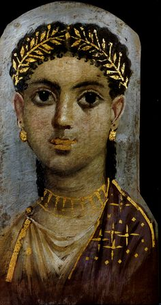 Mummy portrait of a young woman with gold lips, Hawara, AD 40-45 (Cleveland, OH, Cleveland Museum of Art)