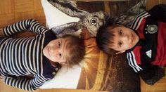#children #love #hare #rabbit #cushion and it is #big enough #fortwo #gots #vegan #sunset // #kinder #liebe #feldhase #hase #kissen #groß #fürzwei #bio