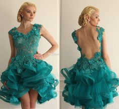 Sexy Ball Gown Short Prom Dresses Backless Green Lace Crystals Organza Mini 2016 High School Junior Homecoming Party Dresses Cocktail Gowns Prom Dresses Cheap Evening Gowns Online with 104.0/Piece on Toprated's Store | DHgate.com
