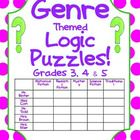 "I have created 5 logic puzzles for grades 3, 4, 5. They are all ""book genre"" themed. The book genres mentioned in the clues are Poetry, Realistic F..."