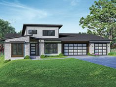 051H-0369: One-Story Contemporary House Plan Contemporary Style Homes, Contemporary House Plans, Modern House Plans, Best House Plans, House Floor Plans, Floor Framing, Thing 1, Home Additions, New Home Designs