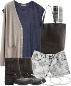 Organic by John Patrick button front cardigan / Zara navy shirt / Blue floral shorts / Zara bike shoes / Madewell black leather tote / Michael Kors charm jewelry, $130 / Korres beauty product, $12