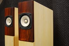 """Naga by Blumenstein: Floor standing speakers that double as wooden sculptures. 'Close your eyes and listen for peace of mind.' Exterior Dimensions 3 1/2"""" w, 14"""" d, 36 1/2"""" h  #Speakers #Blumenstein #Orca_Speakers"""