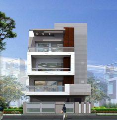 F 3 Storey House Design, Bungalow House Design, House Front Design, Modern House Design, Villa Design, Facade Design, Exterior Design, Front Elevation Designs, House Elevation