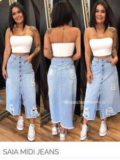 Source by juvenil femenina moda gorditas Cute Fall Outfits, Winter Fashion Outfits, Classy Outfits, Denim Fashion, Stylish Outfits, Long Denim Skirt Outfit, Skirt Outfits Modest, How To Draw Skirt, Everyday Dresses