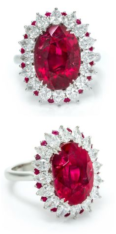 GABRIELLE'S AMAZING FANTASY CLOSET | A platinum and diamond ring with a magnificent 12+ carat ruby.