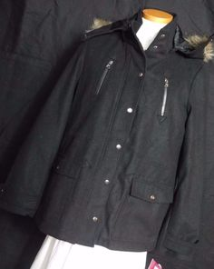 Hawke and Co. Women's Black Polyester Blend Coat with Zip Off Hood SizeXL, NWT! #HawkeandCo #BasicCoat