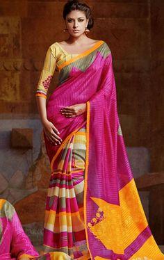 Stunning Pink and Yellow Silk Saree