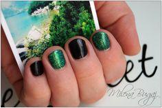 Efekt SZMARAGDOWY * 4-ro dniowy odrost #nails #paznokcie #semilac #indigo #black #white #efektszmaragdowy #green