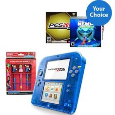Nintendo 2DS Crystal Handheld Bundle with Case and Choice of Game